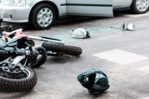 overturned motorcycle: Personal injury